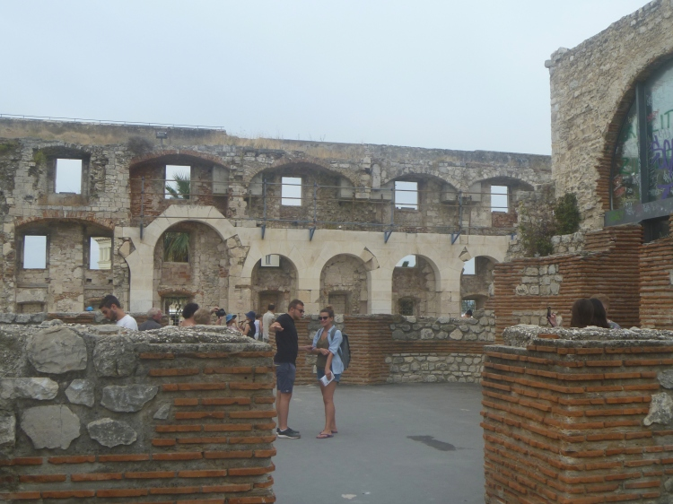 Tourists inside Diocletian's Palace
